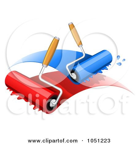 Paint Rollers With Blue And Red Paint Posters, Art Prints