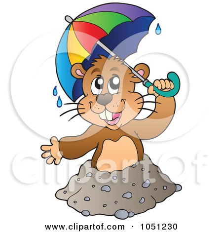 Royalty-Free Vector Clip Art Illustration of a Happy Groundhog Holding An Umbrella Above His Hole by visekart