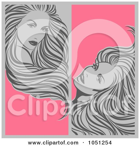 Royalty-Free Vector Clip Art Illustration of a Digital Collage Of Vertical Gray And Pink Beauty Hair Banners by elena