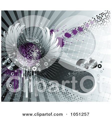Royalty-Free Vector Clip Art Illustration of a Purple Winged Disco Ball And Records Over Halftone And Grunge by elena