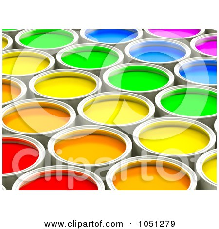 Royalty-Free 3d Clip Art Illustration of 3d Colorful Paint Cans - 2 by ShazamImages