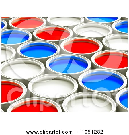 Royalty-Free 3d Clip Art Illustration of 3d Red, White And Blue Cans Of Paint In Rows - 1 by ShazamImages