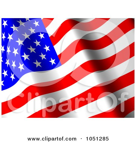 Royalty-Free 3d Clip Art Illustration of a 3d Waving American Flag Banner - 1 by ShazamImages