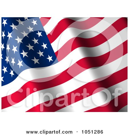 Royalty-Free 3d Clip Art Illustration of a 3d Waving American Flag Banner - 2 by ShazamImages