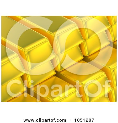 Royalty-Free 3d Clip Art Illustration of 3d Stacked Gold Bars by ShazamImages