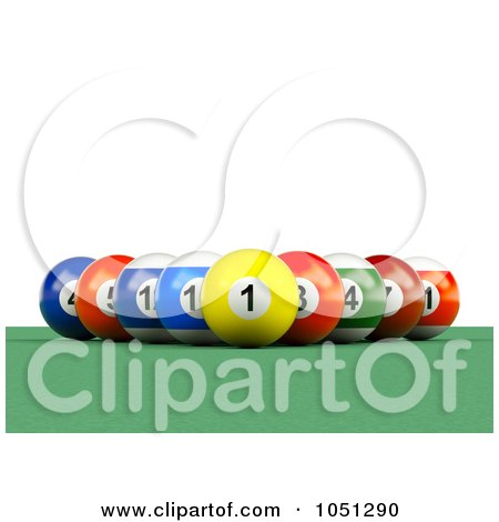 Royalty-Free 3d Clip Art Illustration of 3d Billiard Pool Balls In A Rack Formation by ShazamImages