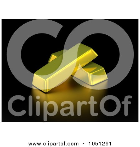 Royalty-Free 3d Clip Art Illustration of 3d Gold Bars On Black by ShazamImages