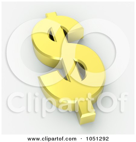 Royalty-Free 3d Clip Art Illustration of a 3d Gold Dollar Symbol - 2 by ShazamImages