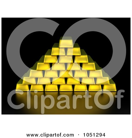 Royalty-Free 3d Clip Art Illustration of 3d Gold Bars Stacked In Pyramid Formation On Black by ShazamImages