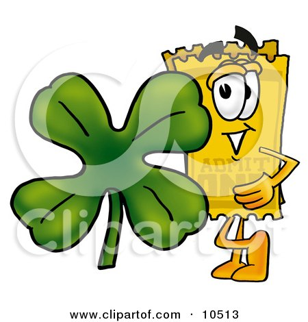 Clipart Picture of a Yellow Admission Ticket Mascot Cartoon Character With a Green Four Leaf Clover on St Paddy's or St Patricks Day by Toons4Biz