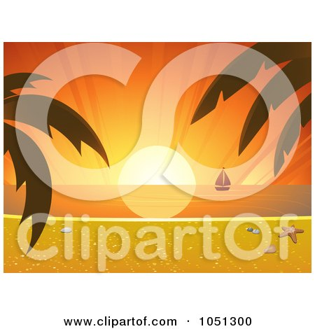 Royalty-Free Vector Clip Art Illustration of a Tropical Sunset With A Beach Scene And Sailboat by elaineitalia