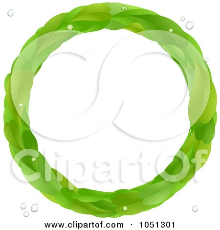 Royalty-Free Vector Clip Art Illustration of a Circle Leaf Frame With Bubbles by elaineitalia