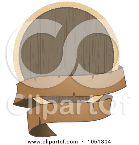 Royalty-Free Vector Clip Art Illustration of a Wooden Shield With A Black Banner by elaineitalia