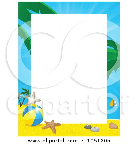 Royalty-Free Vector Clip Art Illustration of a Tropical Beach Frame Around White Space by elaineitalia
