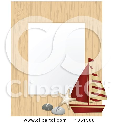 Royalty-Free Vector Clip Art Illustration of a Nautical Wood Frame With A Sailboat, Pebbles And Starfish Around White by elaineitalia