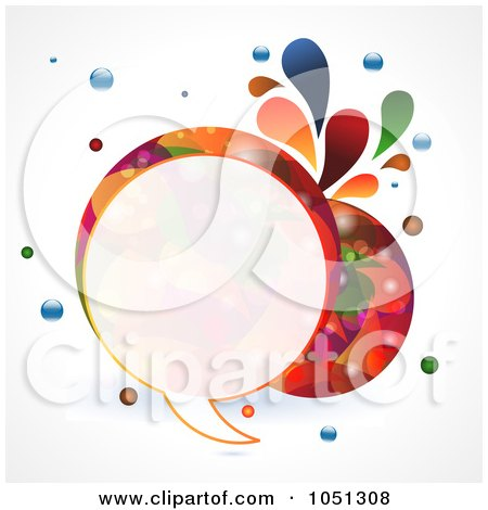 Royalty-Free Vector Clip Art Illustration of a Colourful Round Speech Bubble With Splashes And Bubbles by elaineitalia