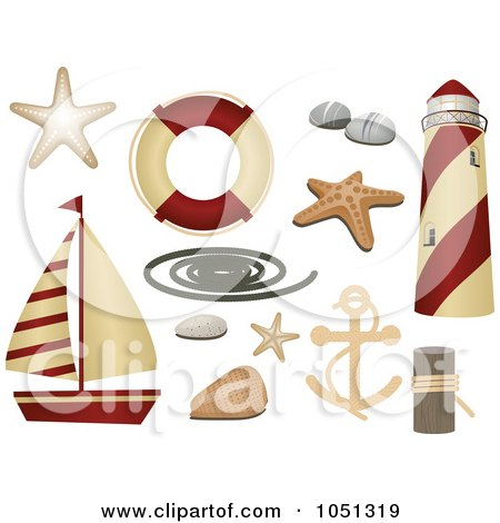 Royalty-Free Vector Clip Art Illustration of a Digital Collage Of Nautical Icons by elaineitalia