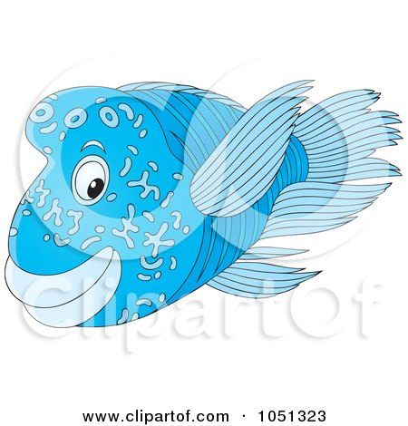 Royalty-Free Vector Clip Art Illustration of a Blue Marine Fish by Alex Bannykh