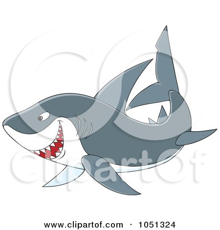 Royalty-Free Vector Clip Art Illustration of a Swimming Gray Shark by Alex Bannykh