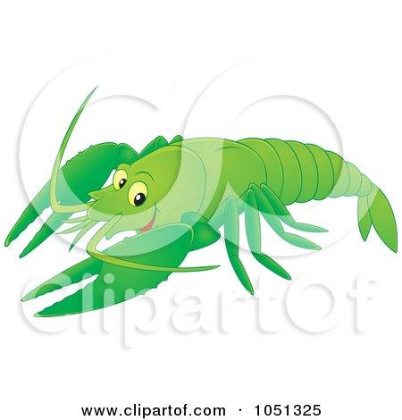 Royalty-Free Vector Clip Art Illustration of a Green Crayfish by Alex Bannykh