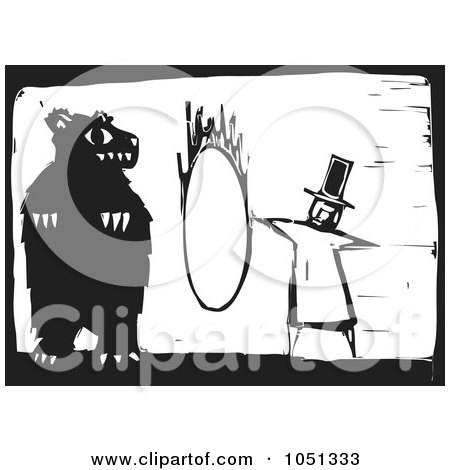Royalty-Free Vector Clip Art Illustration of a Woodcut Styled Ringmaster Instructing A Bear To Jump Through A Hoop by xunantunich