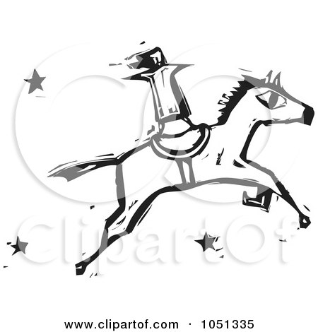 Royalty-Free Vector Clip Art Illustration of a Woodcut Styled Woman Standing Up On A Horse by xunantunich