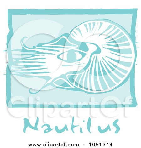 Royalty-Free Vector Clip Art Illustration of a Blue Woodcut Styled Nautilus With Text Over Blue by xunantunich
