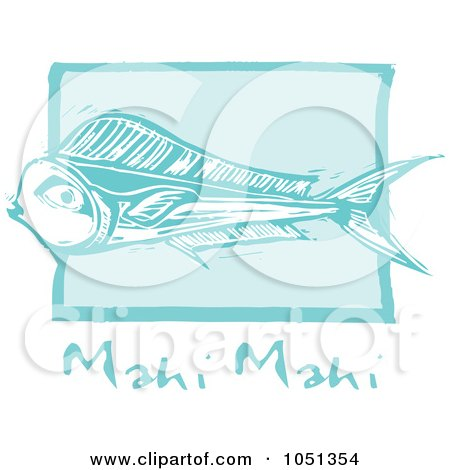 Royalty-Free Vector Clip Art Illustration of a Blue Woodcut Styled Mahi Mahi Fish With Text Over Blue by xunantunich