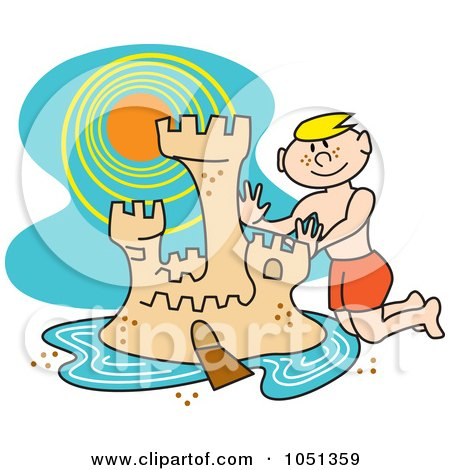 Royalty-Free Vector Clip Art Illustration of a Boy Building A Sand Castle With A Moat On The Beach by Andy Nortnik