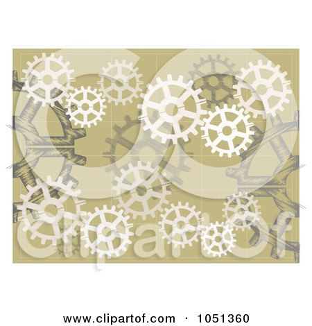 Royalty-Free Vector Clip Art Illustration of a Tan Background Of Gears by mheld
