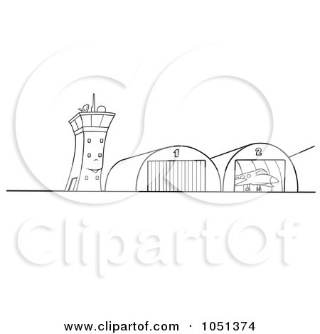 Royalty-Free Vector Clip Art Illustration of an Outline Of Airport Hangars by dero