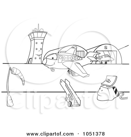 Royalty-Free Vector Clip Art Illustration of an Outline Of An Airport Runway by dero