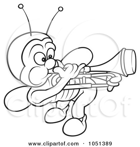 Royalty-Free Vector Clip Art Illustration of an Outline Of A Bug Playing A Trombone by dero