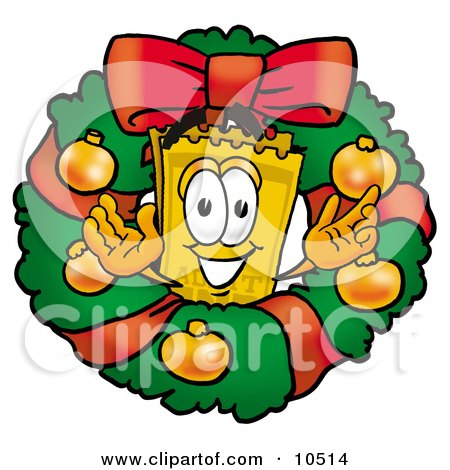 Clipart Picture of a Yellow Admission Ticket Mascot Cartoon Character in the Center of a Christmas Wreath by Toons4Biz