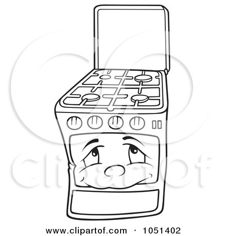 Clipart Outlined Gas Oven Range Stove Character Royalty