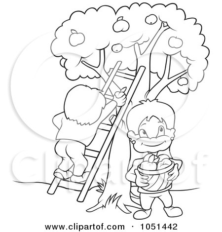 children picking apples coloring pages - photo#14