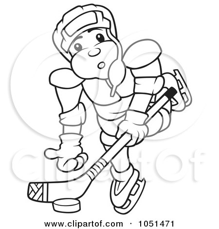 Royalty Free Vector Clip Art Illustration Of An Outline Of A Hockey