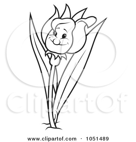 Royalty-Free Vector Clip Art Illustration of an Outline Of A Happy Tulip Flower by dero