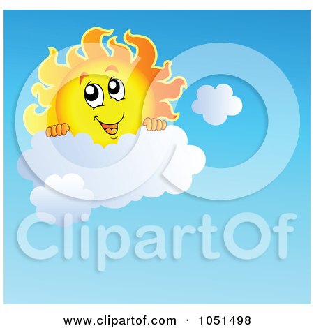 Royalty-free clipart illustration of a happy sun looking over a cloud.