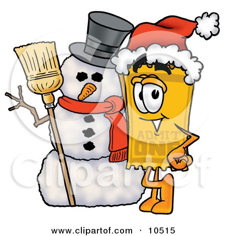 Clipart Picture of a Yellow Admission Ticket Mascot Cartoon Character With a Snowman on Christmas by Toons4Biz