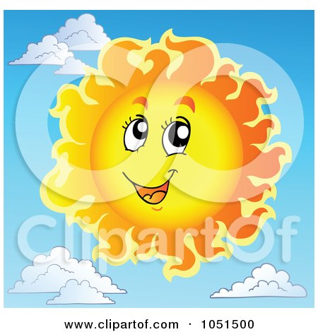 Royalty-Free Vector Clip Art Illustration of a Happy Sun In A Sky With Clouds In The Background by visekart