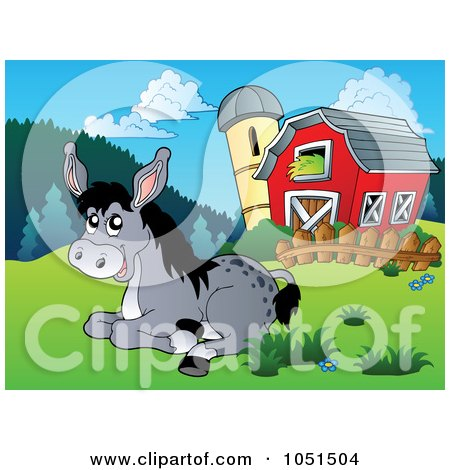 Royalty-Free Vector Clip Art Illustration of a Donkey Resting Near A Barn And Silo by visekart