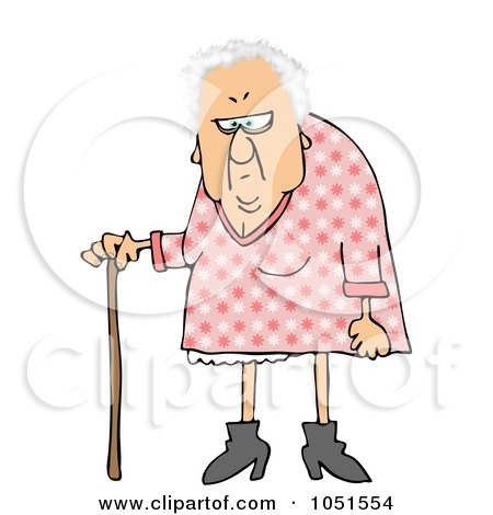 Royalty-Free Clip Art Illustration of a White Haired Granny With A Cane by djart