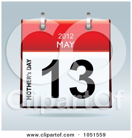 Royalty-Free Vector Clip Art Illustration of a 3d Mother's Day May 13 2012 Flip Desk Calendar by michaeltravers