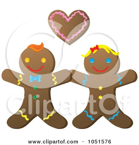 Royalty-Free Vector Clip Art Illustration of a Happy Gingerbread Couple by Rosie Piter