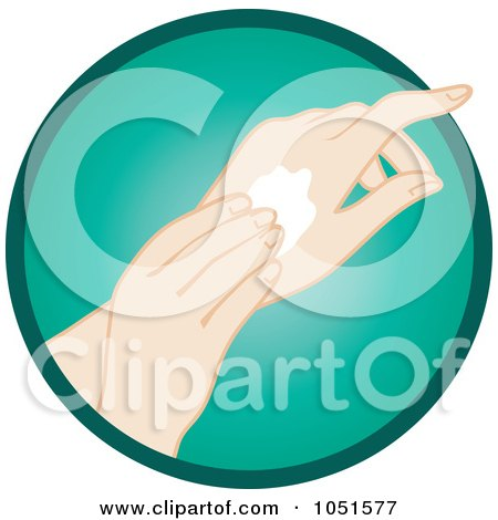 Royalty-Free Vector Clip Art Illustration of a Caucasian Woman Rubbing In Hand Lotion by Rosie Piter