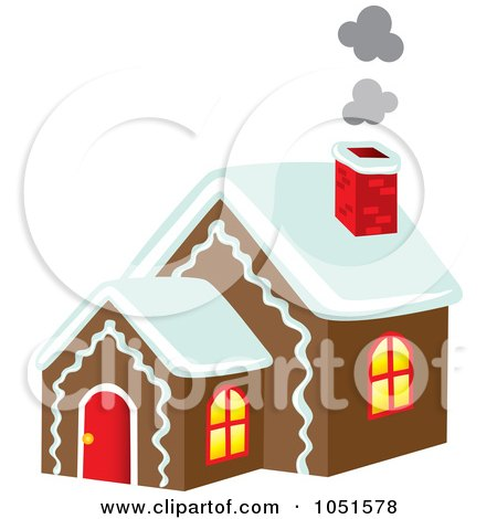 Royalty-Free Vector Clip Art Illustration of Smoke Rising From A Gingerbread House Chimney by Rosie Piter