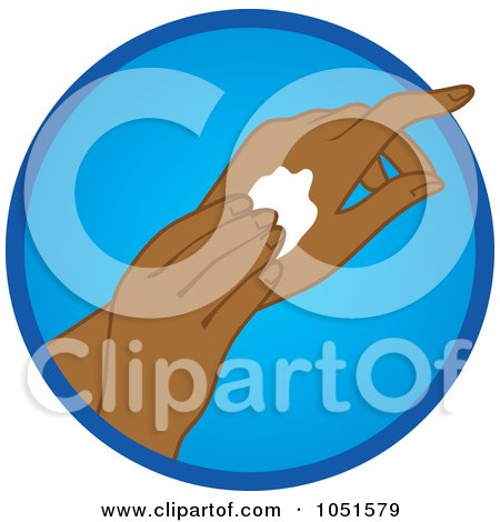 Royalty-Free Vector Clip Art Illustration of a Black Woman Rubbing In Hand Lotion by Rosie Piter