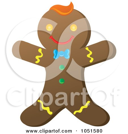 Royalty-Free Vector Clip Art Illustration of a Happy Gingerbread Man by Rosie Piter