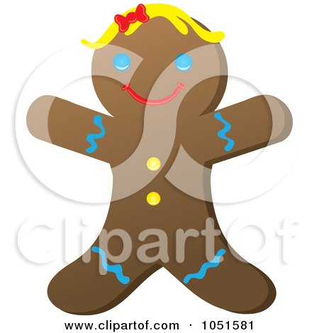 Royalty-Free Vector Clip Art Illustration of a Happy Gingerbread Woman by Rosie Piter
